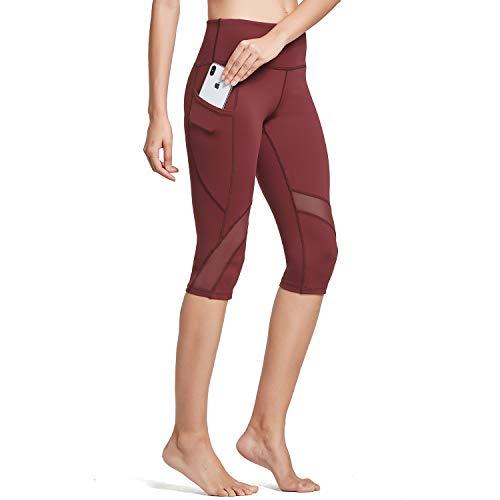 BALEAF Women Mesh Yoga Pants Capri Leggings High Waist Tummy Control Side Hidden Pocket Black M
