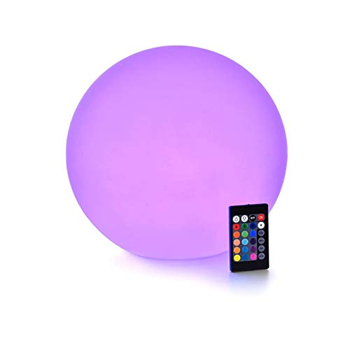 LOFTEK LED Dimmable Light Ball: 12-inch Waterproof Floating Pool Lights with Remote, 16 Colors & 4 Modes Sphere Night Light, Cordless & Fast Chargeable, Sensory Toys for Kids, Home, Party, Pool Decor