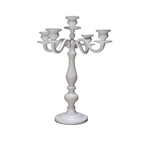 Dekowelten Kerzenständer/Kerzenhalter 5-armig in Silber für Stab oder Stumpenkerzen in verschiedenen Größen 30-180cm (35cm Big weiß)