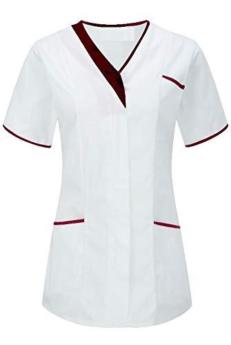 Instex Witte Asymmetrische Tuniek met Contrast Trim, Tandarts Vet Ziekenhuis Schoonheidssalon, INS33WH