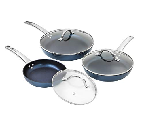 CONCORD Sapphire Nonstick 6 Piece Frying Pan Cookware Set with Lids (Induction Compatible) (3 PC Frying Pan)