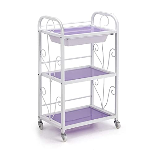 GAXQFEI Foyer Rack 3-Tier Beauty Cart with Wheels, Multifunctional Storage Shelves for Beauty Salons Classroom Book Room Rolling Organization Cart for Storage,a,46.5 * 30 * 80Cm