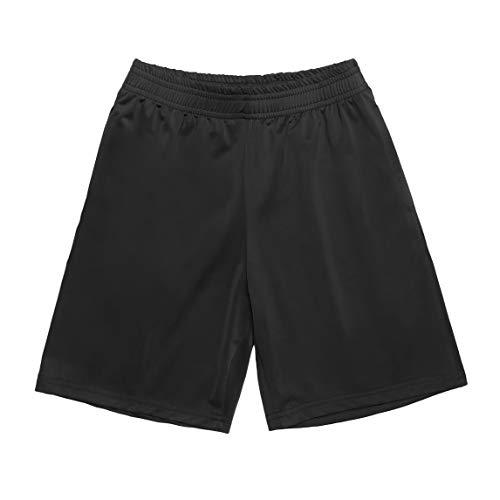 Bricnat - Pantalones cortos de deporte para niño (secado rápido) Negro  160 cm