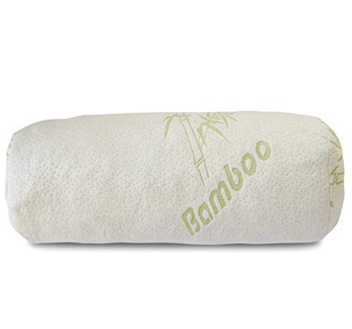 Premium Bamboo Bolster Pillow for Bed Shredded Memory Foam Pillow Cervical Support for Legs Round Neck Pillow for Neck Pain Therapeutic Orthopedic Removable Zipper Cover with Free 3D Mask and Earplugs