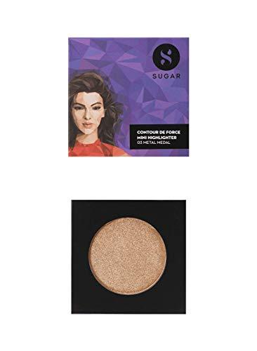 SUGAR Cosmetics Contour De Force Mini Highlighter - 03 Metal Medal (Soft Gold) Lightweight, Easily Blendable, Illuminating Bronzer, Matte Finish