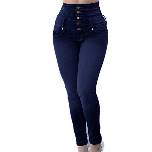 U/A Vita Alta Jeans Donna Blu 3 XXL