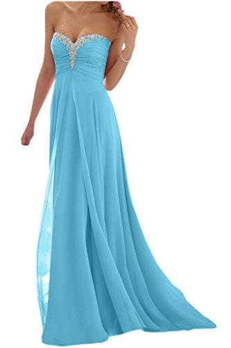 Promgirl House Damen Glamour Traegerlos A-Linie Chiffon Abendkleider Cocktail Ballkleider Lang-54 Hellblau