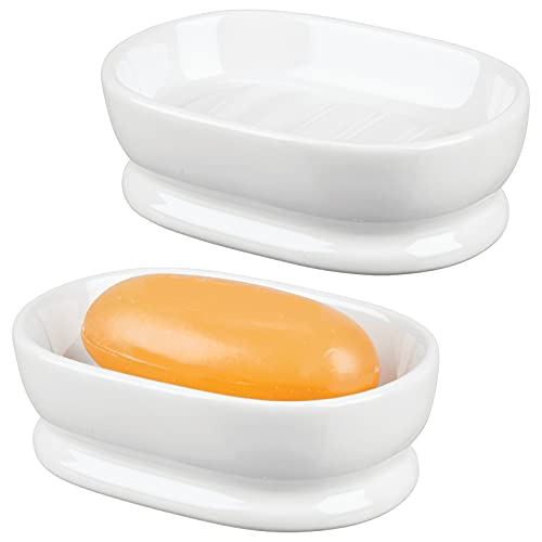 mDesign Decorative Ceramic Bar Soap Dish Tray for Bathroom Vanities, Countertops, Pedestals, Kitchen Sink - Store Hand Soap, Pumice Bars, Sponges, Scrubbers - 2 Pack - White