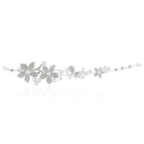 Autiga Braut Haarreif Tiara Perlen Strass Blüten Haarschmuck Hochzeit Haarband Silber