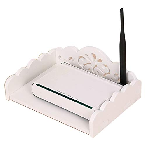 Wall racks Caja creativa tallada de Wifi, caja de almacenamiento para enrutador, pared perforada, sin clavo (color: blanco, tamaño: 25 x 19 x 8 cm)