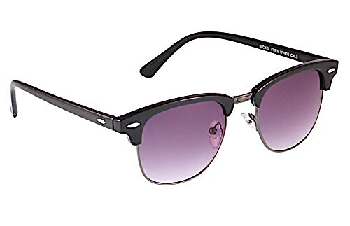CHICNET Gafas de sol para hombre y mujer con puente de metal y almendras decorativas de metal y acrílico, protección UV 400, moderna forma semimontura, espejo y tintada, morado,