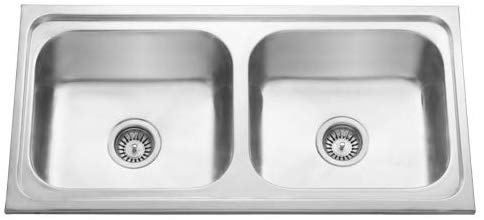 CROCODILE ® 304 Grade Stainless Steel Double Bowl Kitchen Sink (Glossy, 37 x 18 x 8 inches)
