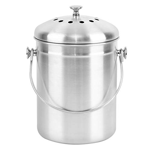 Ridgeyard Stainless Steel Indoor Compost Bucket Compost Bin for Kitchen Countertop Odorless Compost Pail for Kitchen Food Waste with Carrying Handle 13 Gallon Easy to Clean