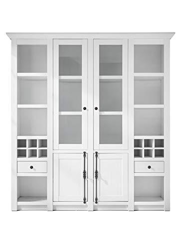 Newfurn buffetkast landhuis buffet kast keukenkast vitrinekast II 194x207x 45 cm (BxHxD) II [Max.Four] in grenen wit imitatie/grenen wit replica woonkamer eetkamer