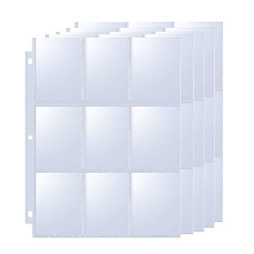 TECHSHARE Tarjetas coleccionables, carpeta vacía, carpeta para tarjetas de colección, transparente, hojas de archivador neutrales antideslizantes para 3 anillas (50 páginas)