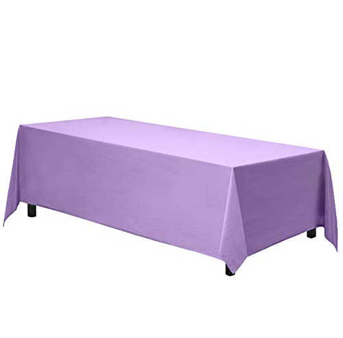 Gee Di Moda Rectangle Tablecloth - 90 x 156 Inch - Lavender Rectangular Table Cloth for 8 Foot Table in Washable Polyester - Great for Buffet Table, Parties, Holiday Dinner, Wedding & More
