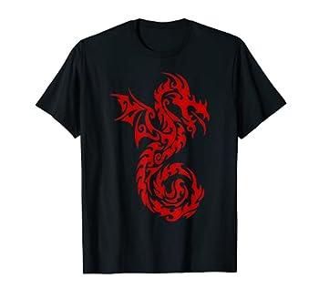 Red Tribal Dragon T-Shirt Chinese Firedrake Art Print