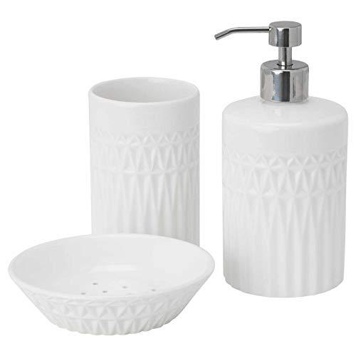 IKEA GAVIKEN Seifenspender, Zahnputzbecher und Seifenschale, 3-teiliges Set [weiß]