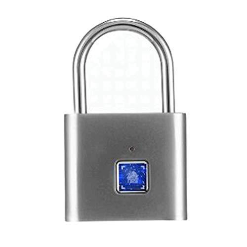 JJZXT Fingerprint Lock,1 Second Unlock Portable Fingerprint Padlock Smart Biometric Security No Password,for Bag,Suitcase,Gym Locker,Cupboard,Drawer,Door (Color : B)