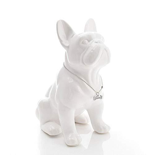 KJFSDH Outdoor Statues Ceramic French Bulldog Dog Statue Home Decor Crafts Objects Ornament Porcelain Animal Figurine Garden Decoration-White_19X11X23_cm