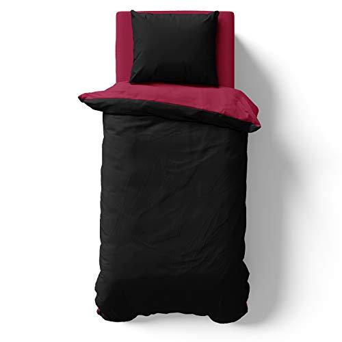 Alreya Mako Satin Solo la Funda de edredón - 100% algodón - 135 x 200 cm Negro Rojo - Solo la Funda nórdica con Cremallera