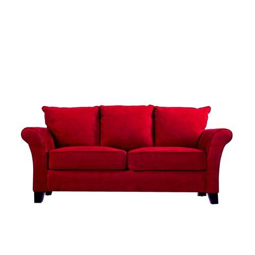 Hot Sale Handy Living MLN1-SX-AAA47 Milan Transitional Flared Arm Microfiber Sofa, Crimson Red