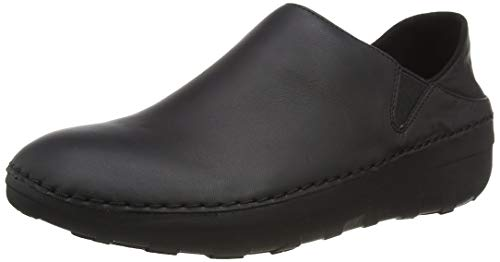 FitFlop Womens Superloafer Leather Loafers All Black Slip-On - 8