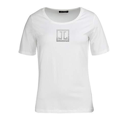 JETTE 220104792 105 modisches Damen Shirt mit Glitzerdruck Rundhals und Kurzarm, Groesse 46, weiß