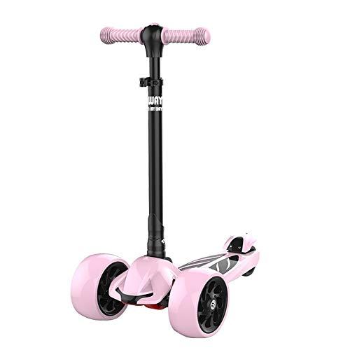 XHJZ-W Kinder-Scooter 4-Rad-Alter 2-15 Tretrollers höhenverstellbare Griff mit PU Flashing Räder Richtung Schloss für Jungen und Mädchen,A