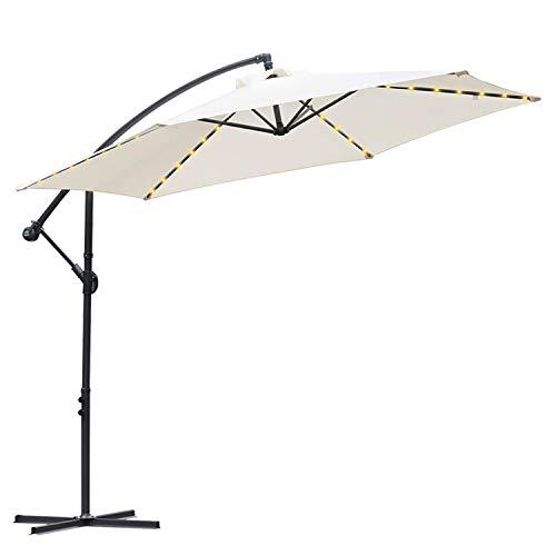 Hengda 300 cm Alu Ampelschirm Sonnenschirm Gartenschirm Balkonschirm Kurbelschirm mit UV Schutz 30+ Wasserabweisende mit Solar LED Beleuchtung für Balkon, Garten, Tarasse| Cremes