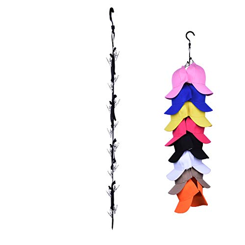 LEVOSHUA Hat Organizer Hanger, 16 Baseball Cap Holder, Hat Storage for Closet - Change Your Clothes Hanger to Ball Cap Organizer Hanger - Keep Your Hats Cleaner Than a Hat Rack - Great for Travel Use