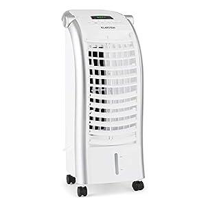KLARSTEIN Maxfresh - Enfriador de Aire 3 en 1, Climatizador evaporativo, 55 W, 444 m³/h, 4 velocidades, 3 Modos: Normal, Naturaleza, Noche, Temporizador hasta 15 h, Capacidad: 6 L, Blanco Floral