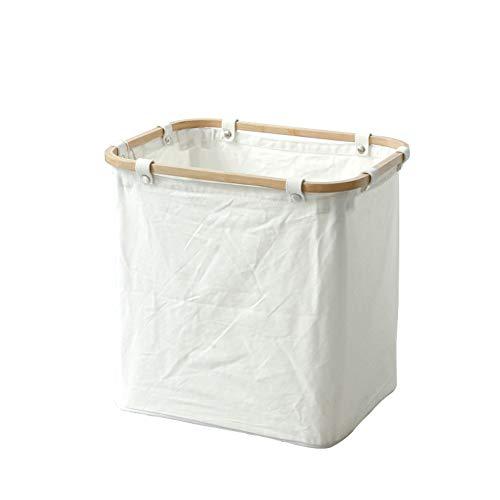 Grande Panier à Linge Amovible, Toile Japonais Stockage Transport Dortoir de collège Articles ménagers Essentiels-Blanc 45x35x45cm(18x14x18inch)