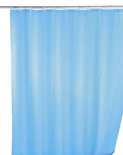 WENKO Anti-Schimmel Duschvorhang Uni Light Blue - Anti-Bakteriell, Textil, waschbar, wasserabweisend, schimmelresistent, mit 12 Duschvorhangringen, Polyester, 180 x 200 cm, Hellblau