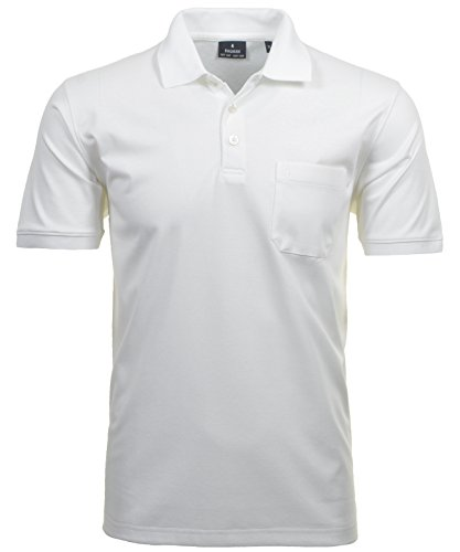 RAGMAN Herren RAGMAN Kurzarm Softknit Poloshirt Large, Weiss-006