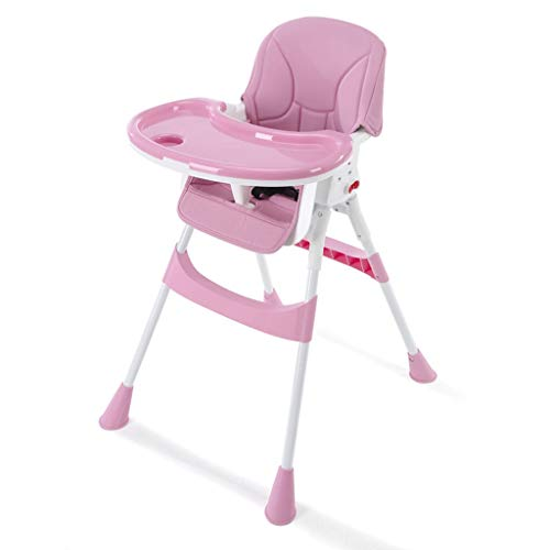YShop Chaise Haute for bébé Pliable, Plateau à Profondeur réglable avec Dossier, siège Pliant for rehausseur Confort for Enfant en Bas âge ( Color : Pink )