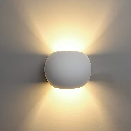DECKEYLámpara de Pared de Cerámica, Iluminación Decorativa en Yeso Luz de Pared LED Arriba Abajo, Efecto de Luz Interior para Dormitorio, Salón y habitación
