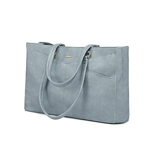 LOVEVOOK Handtasche Laptoptasche Damen 15,6 Zoll Handtasche Business Laptop Schultertasche Tote Bag Aktentasche Leicht Laptop Notebook für Büro Schule Einkauf Blau