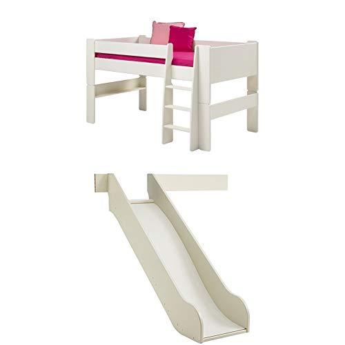 Steens For Kids Kinderbett, Halbhochbett, inkl. Rutsche, Absturzsicherung und Leiter, Liegefläche 90 x 200 cm, MDF, weiß