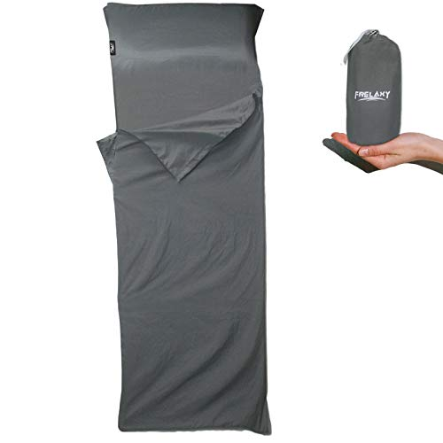 Frelaxy Sleeping Bag Liner, Warm Weather Ultralight Sleeping Bag, Comfy & Easy Care Travel & Camping Sheet with Pillow Pocket, 4 Seasons Warm Cold Weather, Adults & Kids (Dark Gray - No Zipper)