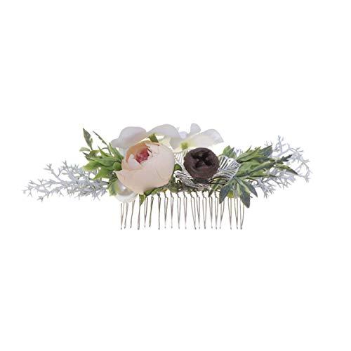 Lurrose Kunstmatige Bloemen Haar Kam Simulatie Blad Bloem Bud Decoratie voor Bruids Bruiloft Foto Champagne