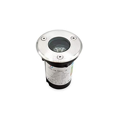 LineteckLED® Faretti segnapasso a led da terra ad incasso 2W luce bianco naturale 4000K, per esterno calpestabile ed impermeabile IP66, 220 lumen. Classe energetica A++