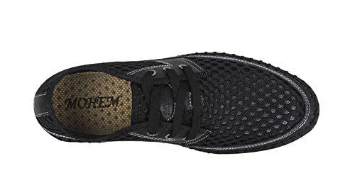 MOHEM Women's Men's Poseidon Water Shoes Lightweight Quick Dry Barefoot Sneaker for Driving Walking Aqua Sports Beach Swim Surf Exercise(WS3166Black45)