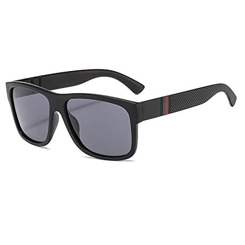 Secuos Moda Gafas De Sol Polaroid Unisex Cuadradas Gafas De Sol Vintage Marca Famosa Sunglases Gafas De Sol Polarizadas para Mujeres Hombres Uv400 Negro