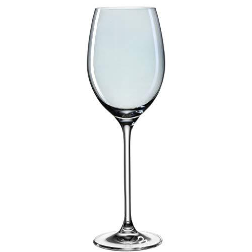 Leonardo Lucente Weißwein-Gläser, Weißwein-Kelch mit gezogenem Stiel, Wein-Glas in Blau, 6er Set, 400 ml, 061776