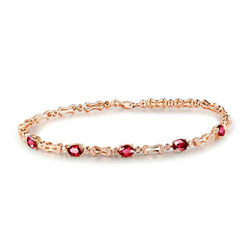 AnazoZ Pulsera Rubí Mujer,Pulsera Oro Rosa 18 Kilates Mujer Oro Rosa y Rojo Oval Rubí Rojo 2ct Diamante 0.62ct