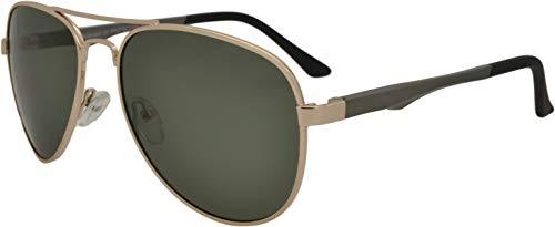 SQUAD Gafas de sol Para hombre y mujer polarizadas Piloto, 100% protección UV400, Doble puente, lentes verde G-15