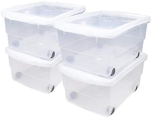 Ondis24 4X Kunststoffbox mit Deckel & Rollen, Rollbox 80L, Spielzeugkiste, Kiste stapelbar, Aufbewahrungsbox transparent