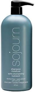 Champú de humedad Sojourn con hidratación óptima para cabello normal, seco, rizado o grueso, color seguro, recomendado para salón profesional.