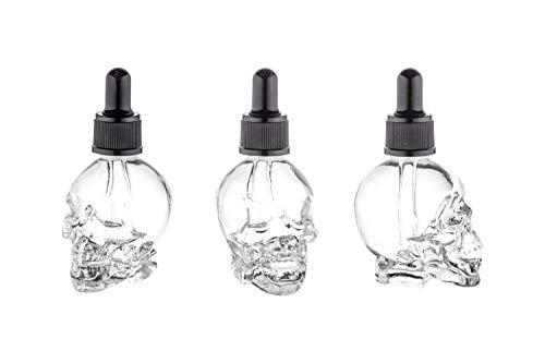 casavetro 3,6 oder 12 Tropf-Flaschen 30 ml Totenkopf von Flüssigkeiten, E-Liquids Augentropfen Verschluss Glas Mini Fläschchen (3)